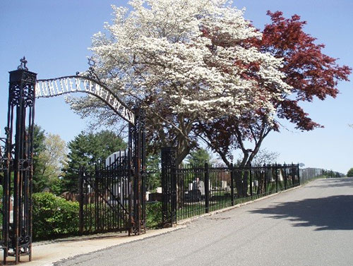 Front Entry Gate at Mohliver Cemetery in West Roxbury, MA